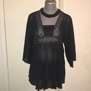 Maternity Black Sheer Sequin Top🛍